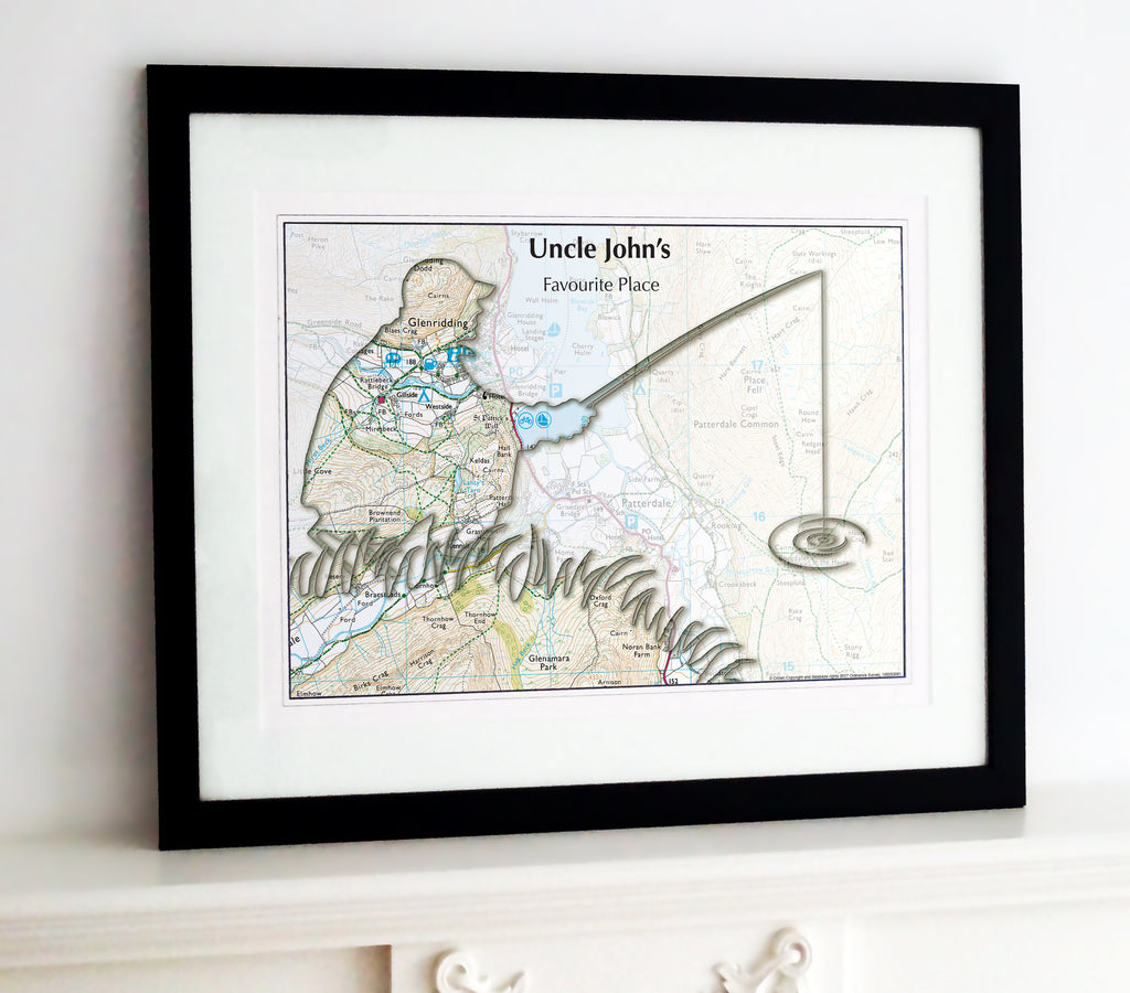 Framed Map - Personalised Fishing Map Framed Print- Love Maps On...