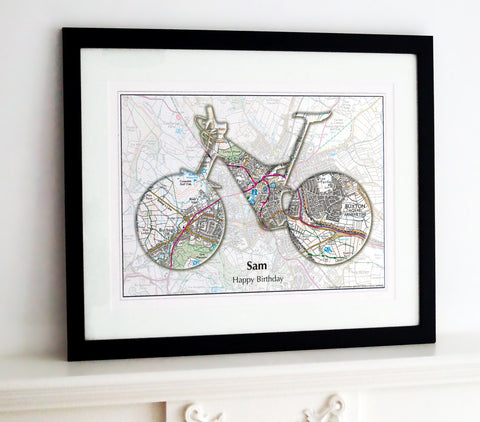 Framed Map - Personalised Bike Map