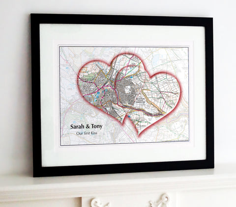 Framed Map - Personalised Love Hearts Map