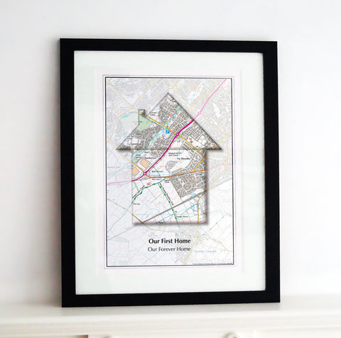 Framed Map - Personalised Map of Your Home