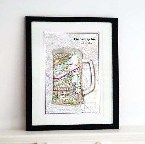 Framed Map - Personalised Tankard Map