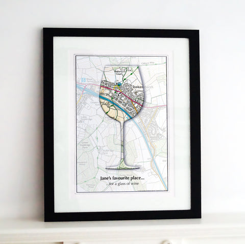 Framed Map - Personalised Wine Glass Map