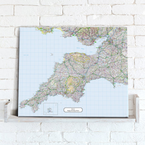 Map Canvas - Personalised Ordnance Survey Regional Map (optional inscription)