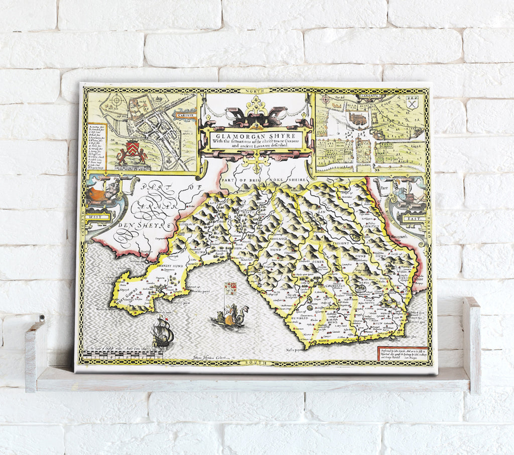 Map Canvas - Vintage County Map - Glamorganshire - Love Maps On... - 1