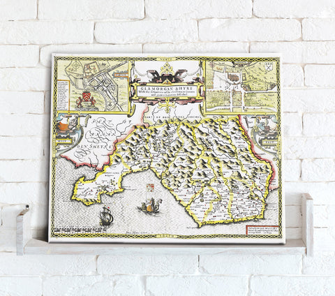 Map Canvas - Vintage County Map - Glamorganshire