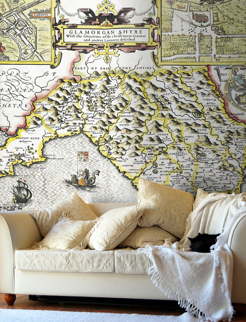 Map Wallpaper - Vintage County Map - Glamorganshire - Love Maps On... - 1