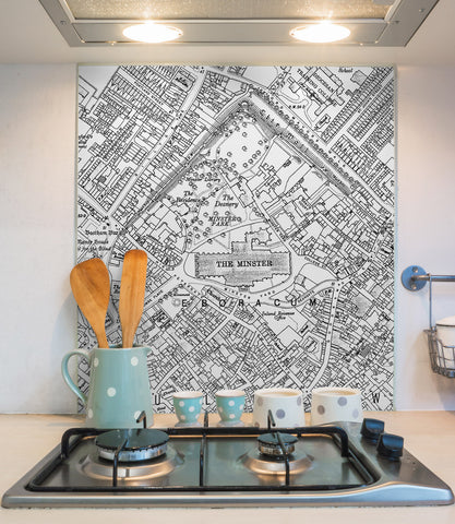Glass Splashbacks - Custom Vintage Ordnance Survey Victorian Street Map - High Detail
