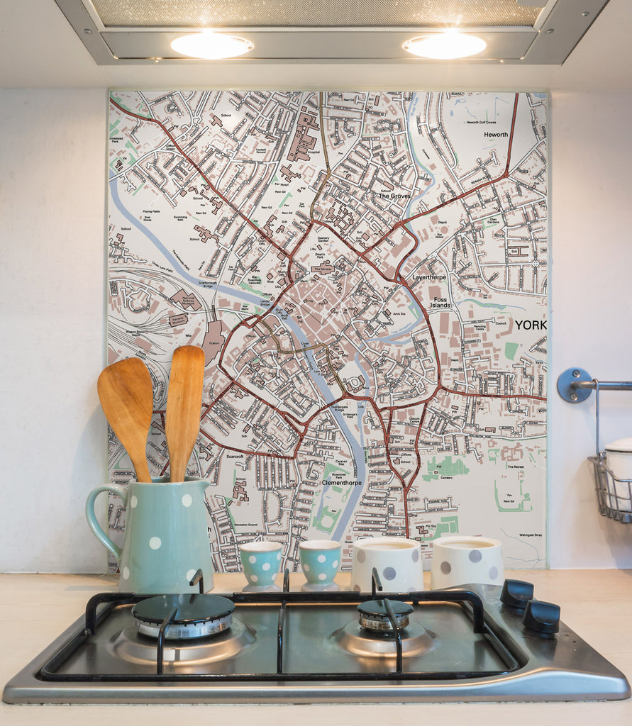 Glass Splashbacks - Custom Ordnance Survey Street Map Classic Splashbacks- Love Maps On...