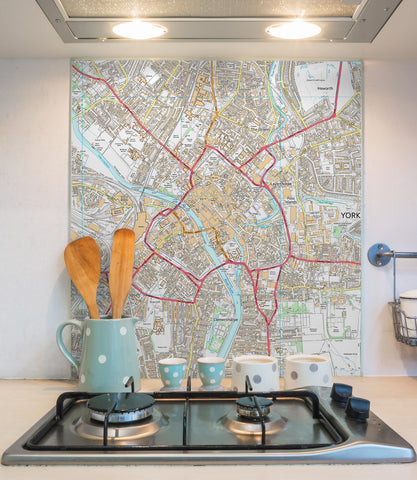 Glass Splashbacks - Custom Ordnance Survey Street Map - High Detail