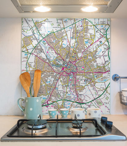 Glass Splashbacks - Custom Ordnance Survey Landranger Map