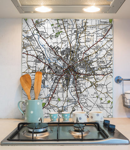 Glass Splashbacks - Custom Vintage Ordnance Survey Map - 1940's (New Popular Series)
