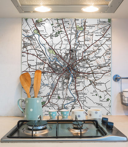 Glass Splashbacks - Custom Vintage Ordnance Survey Map - 1920's (Popular Series)