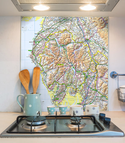 Glass Splashbacks - Custom Ordnance Survey Regional Map