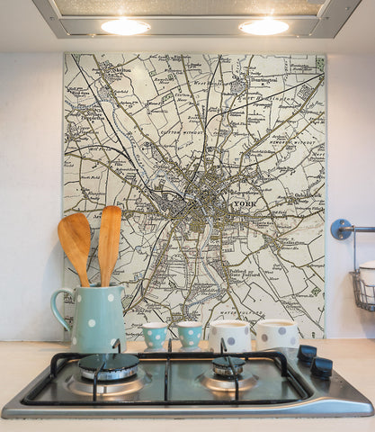 Glass Splashbacks - Custom Vintage Ordnance Survey Map 1897-1904 (Revised New Series)
