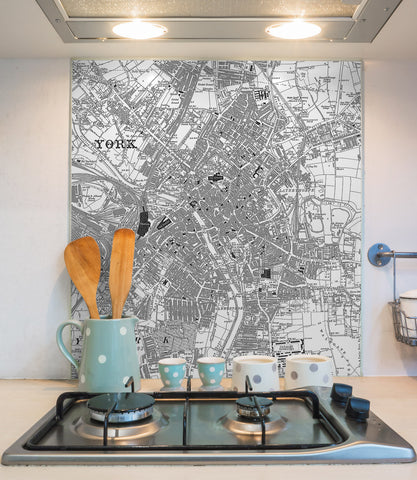 Glass Splashbacks - Custom Vintage Ordnance Survey Victorian Street Map