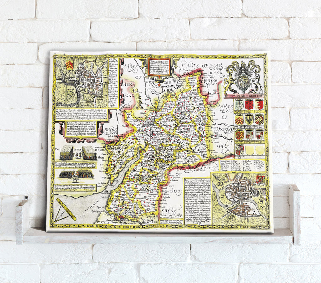 Map Canvas - Vintage County Map - Gloucestershire - Love Maps On...