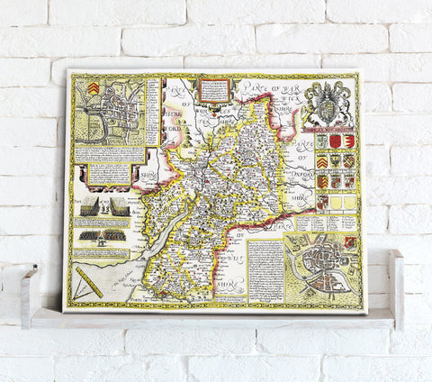 Map Canvas - Vintage County Map - Gloucestershire