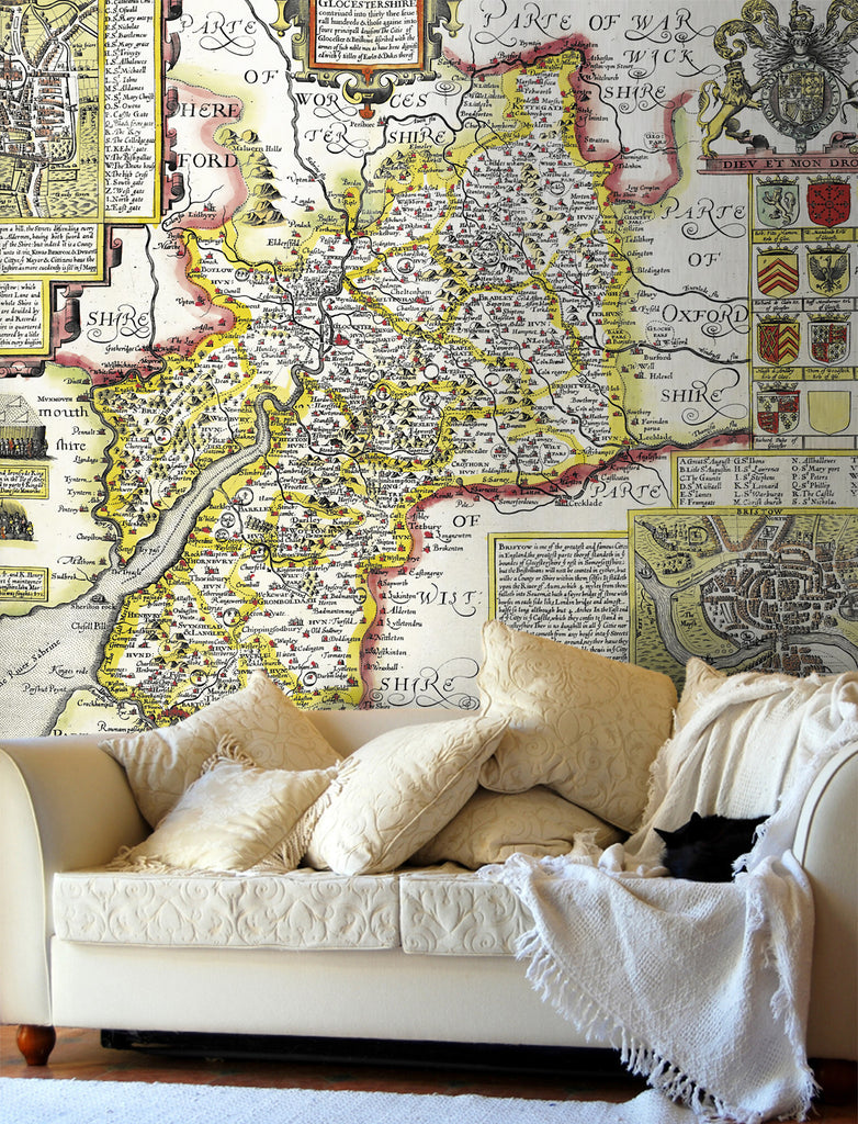 Map Wallpaper - Vintage County Map - Gloucestershire - Love Maps On... - 1