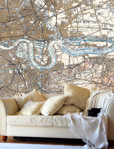 Map Wallpaper  - Vintage Ordnance Survey London - Revised New Series 1897-1898