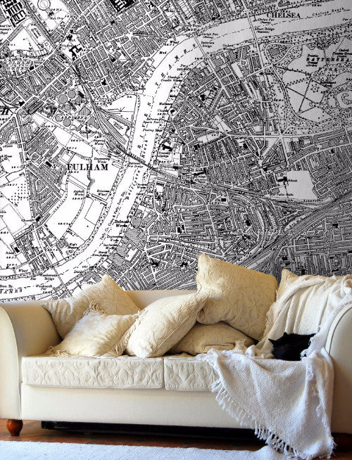 Map Wallpaper  - Vintage Ordnance Survey London - Victorian Street Map - Love Maps On... - 1