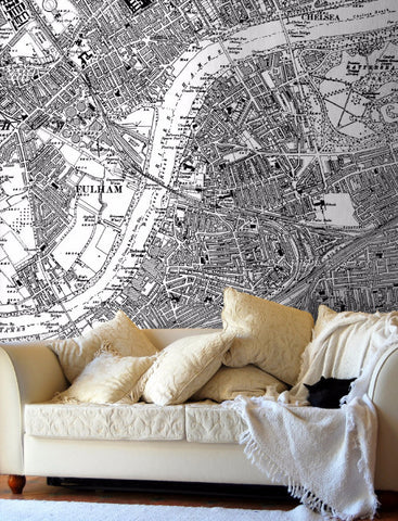 Map Wallpaper  - Vintage Ordnance Survey London - Victorian Street Map