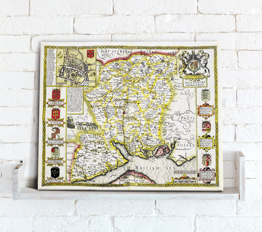 Map Canvas - Vintage County Map - Hampshire - Love Maps On...