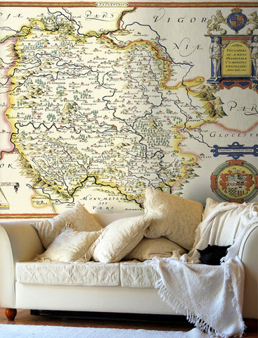 Map Wallpaper - Vintage County Map - Herefordshire
