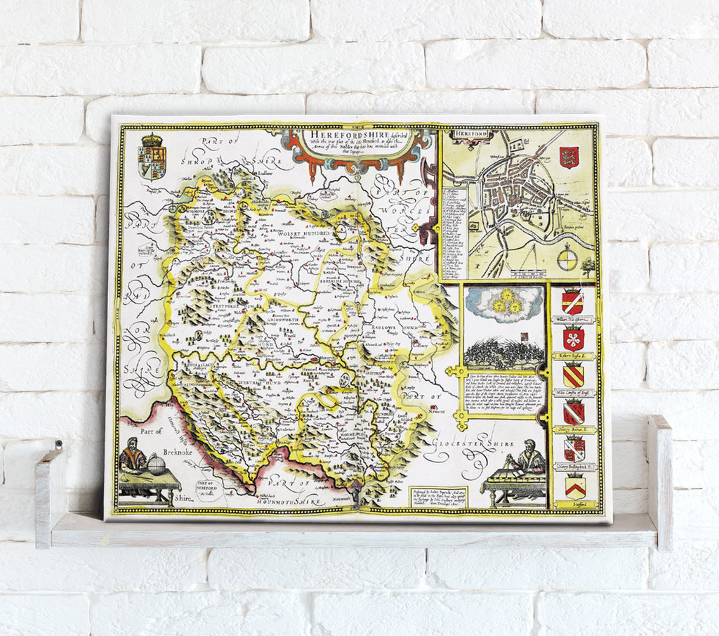 Map Canvas - Vintage County Map - Herefordshire - Love Maps On...