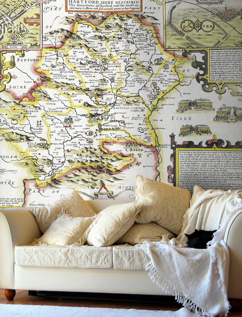 Map Wallpaper - Vintage County Map - Hertfordshire - Love Maps On... - 1