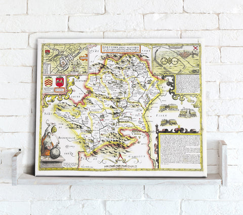 Map Canvas - Vintage County Map - Hertfordshire