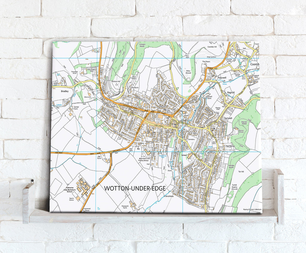Map Canvas - Personalised Ordnance Survey High Detail Street Map (optional inscription) - Love Maps On...