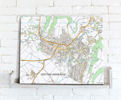Map Canvas - Personalised Ordnance Survey High Detail Street Map (optional inscription)