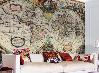 Map Wallpaper - Hondius World Map - Love Maps On... - 1