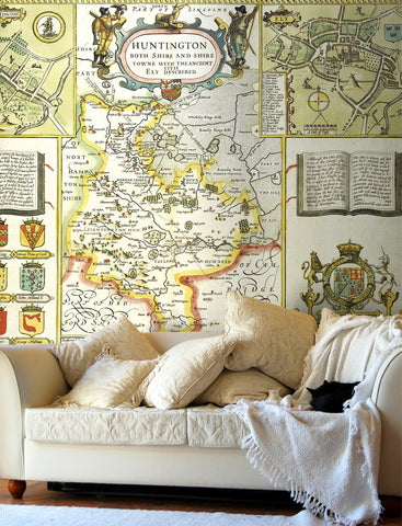 Map Wallpaper - Vintage County Map - Huntingdonshire