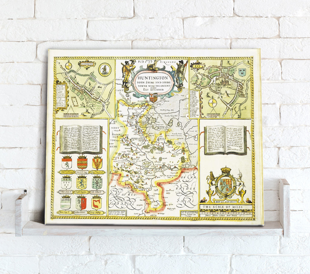 Map Canvas - Vintage County Map - Huntingdonshire - Love Maps On... - 1