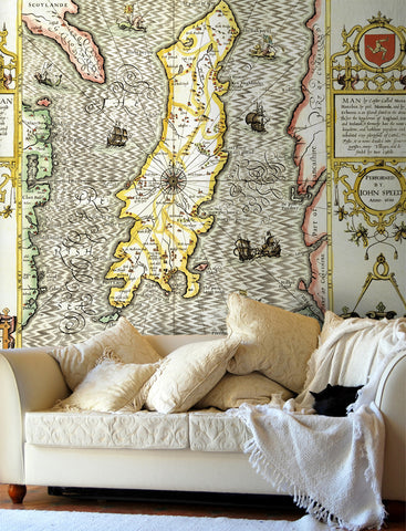 Map Wallpaper - Vintage County Map - Isle of Man