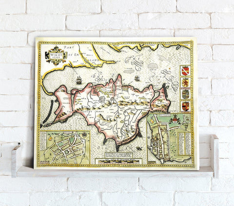 Map Canvas - Vintage County Map - Isle of Wight