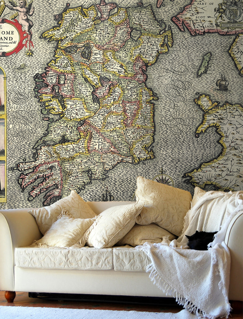 Map Wallpaper - Vintage County Map - Ireland - Love Maps On... - 1
