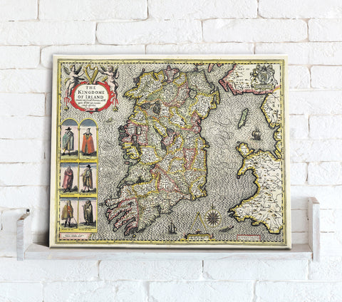 Map Canvas - Vintage County Map - Ireland