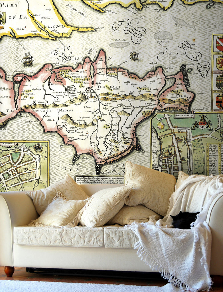 Map Wallpaper - Vintage County Map - Isle of Wight - Love Maps On... - 1