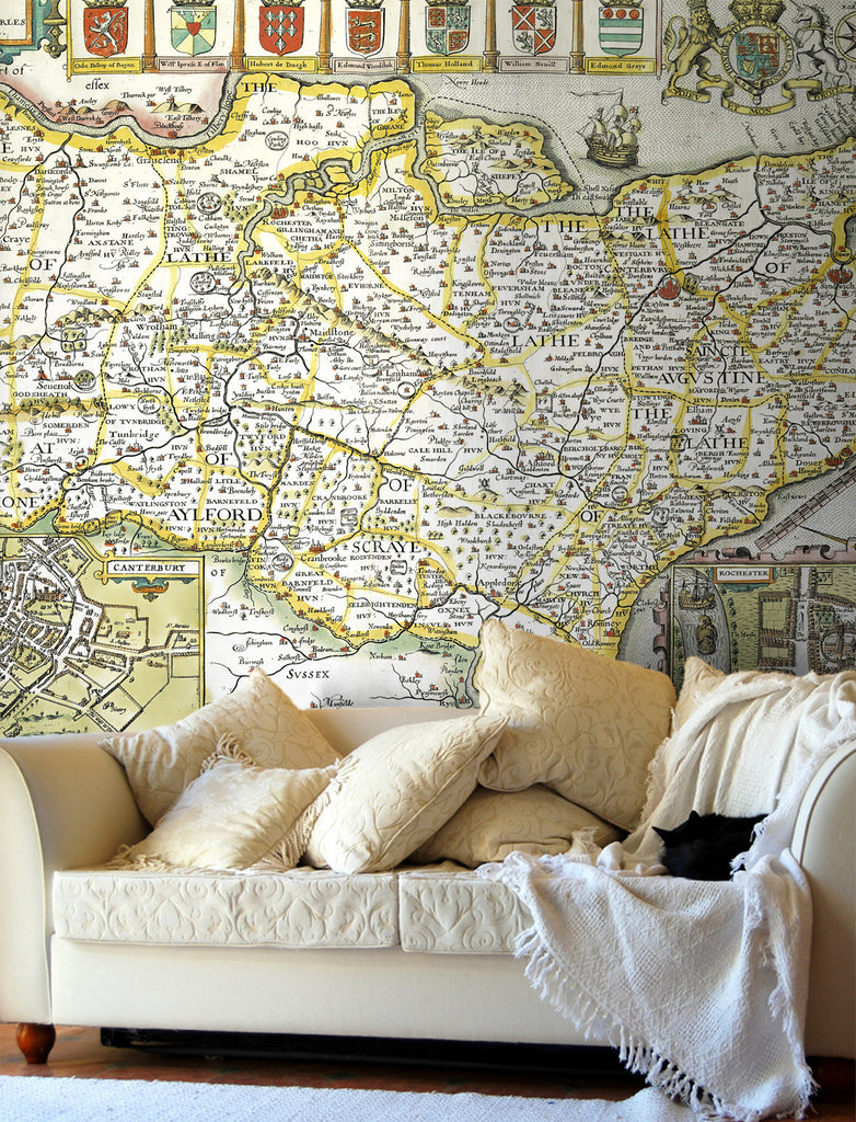 Map Wallpaper - Vintage County Map - Kent - Love Maps On... - 1