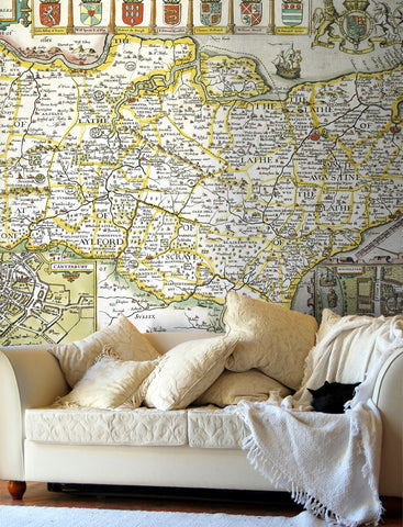 Map Wallpaper - Vintage County Map - Kent
