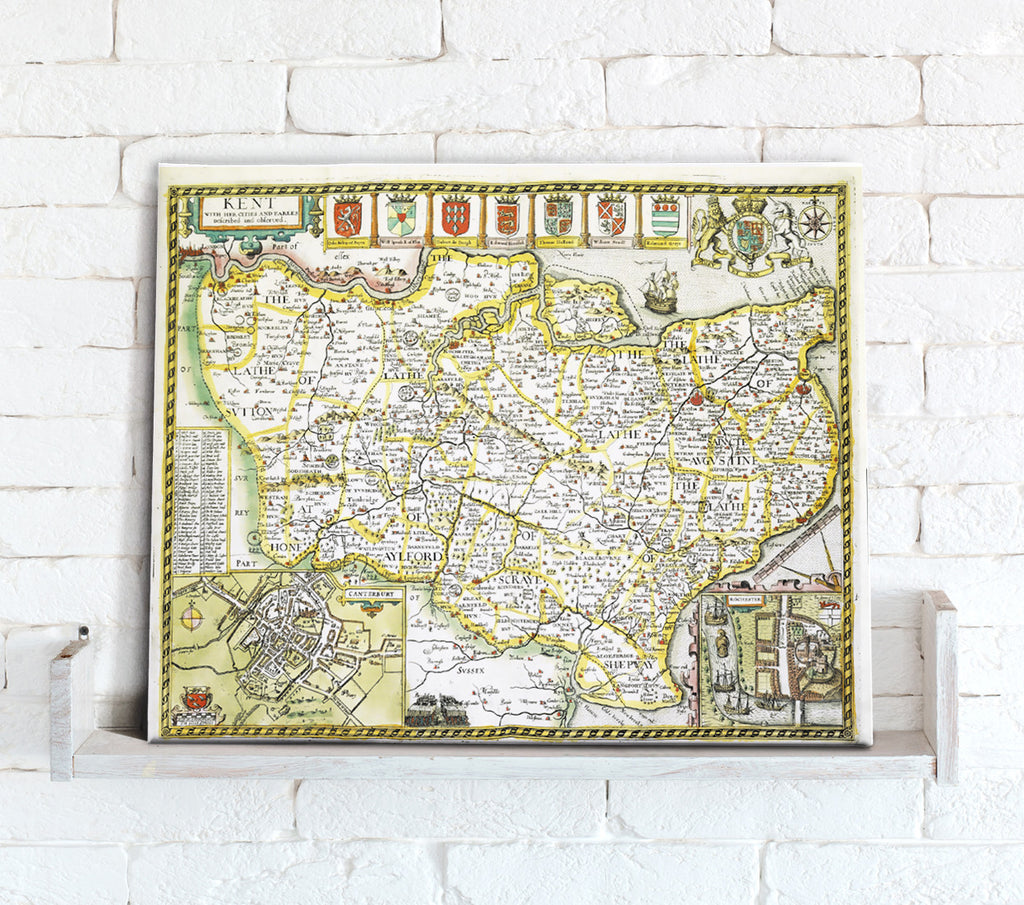 Map Canvas - Vintage County Map - Kent - Love Maps On... - 1