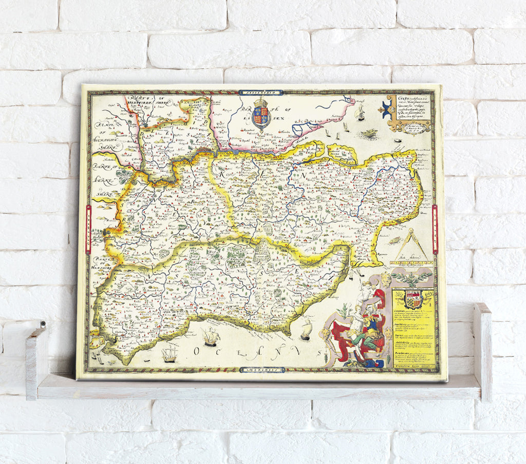 Map Canvas - Vintage County Map - South East England - Love Maps On...