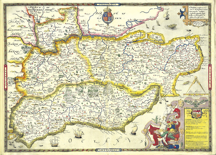 Map Of The South Of England.Map Wallpaper Vintage County Map South East England