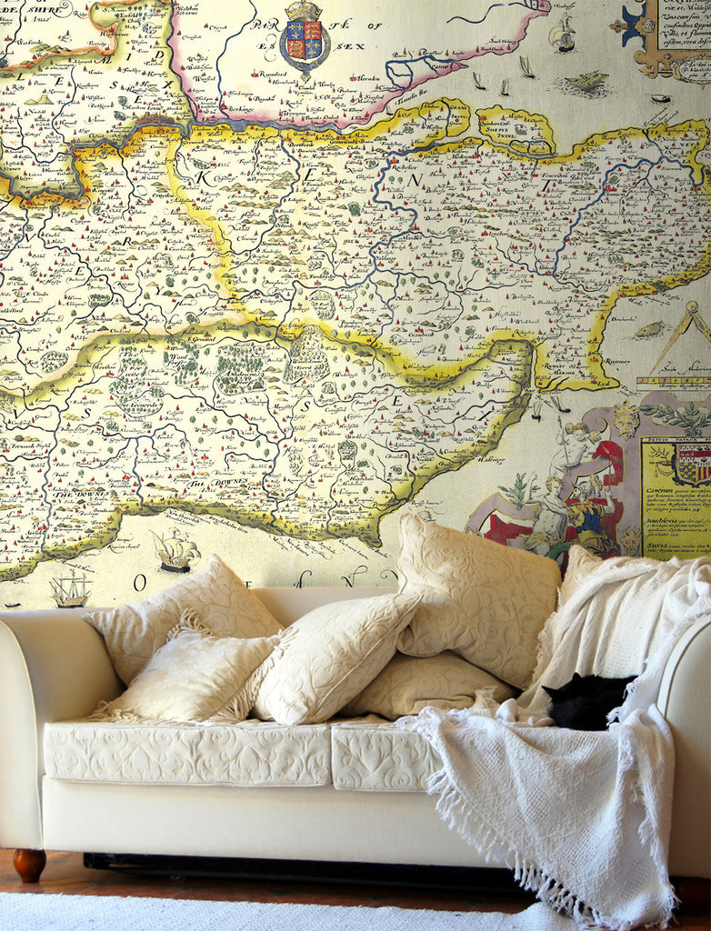 Map Wallpaper - Vintage County Map - South East England - Love Maps On... - 1
