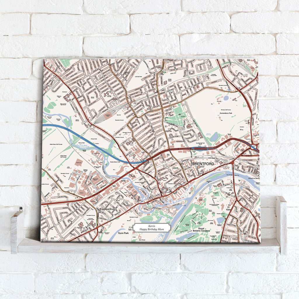 Map Canvas - Personalised Ordnance Survey Street Map - Classic (optional inscription) - Love Maps On...