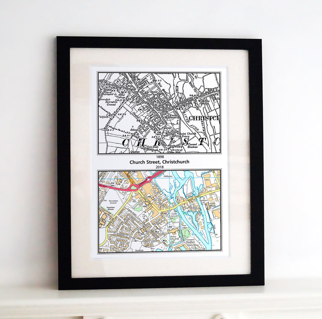 Framed Map - Past to Present Framed Print- Love Maps On...