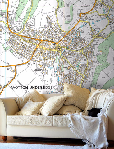 Map Wallpaper - Custom Ordnance Survey Street Map - High Detail.