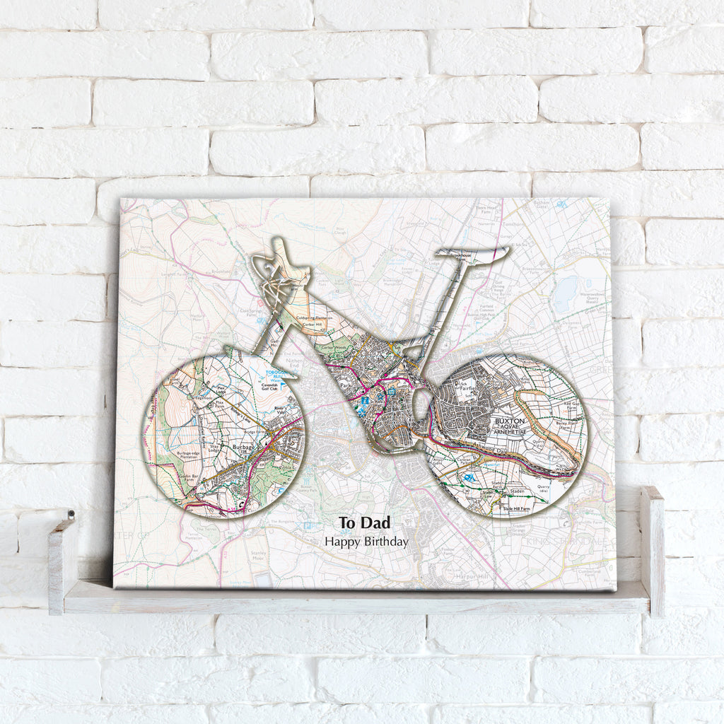 Personalised Bike Map Canvas Print- Love Maps On...